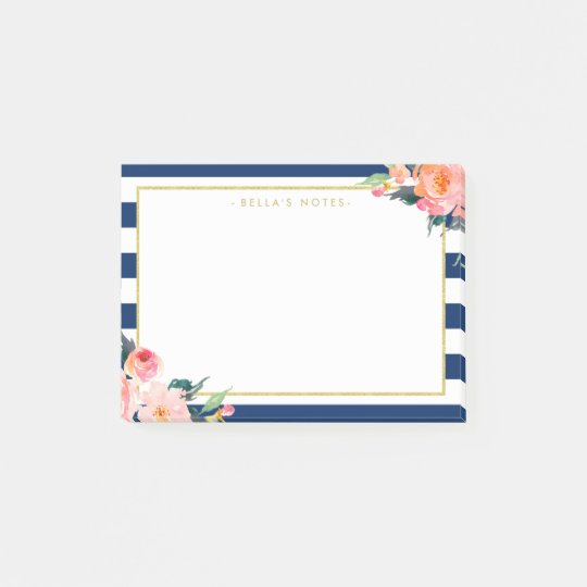 Navy Blue Stripes Modern Flowers Gold Frame Post-it Notes