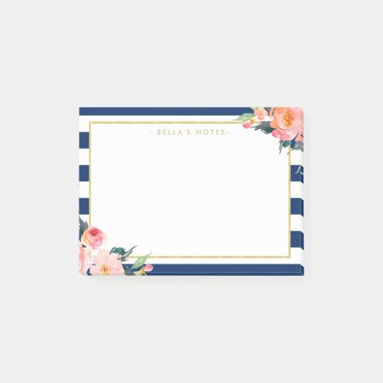 Navy Blue Stripes Modern Flowers Gold Frame Post-it® Notes
