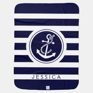 Navy Blue Stripes & Nautical Boat Anchor Baby Blanket