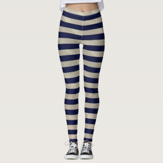 Navy blue stripes on sandy background leggings