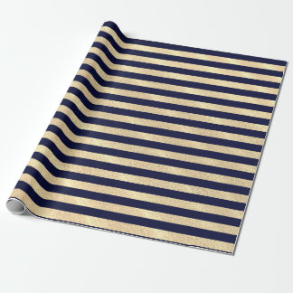 Navy blue stripes on sandy background wrapping paper
