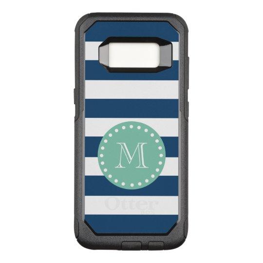 Navy Blue Stripes Pattern, Mint Green Monogram OtterBox Commuter Samsung Galaxy S8 Case