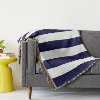 Navy Blue Stripes Pattern Throw Blanket