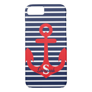 Navy Blue Stripes Red Anchor Monogram Name iPhone 8/7 Case