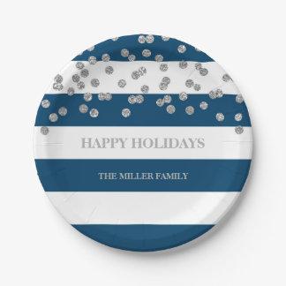 Navy Blue Stripes Silver Confetti Christmas Plates