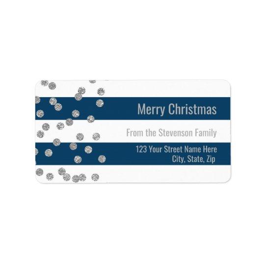 Navy Blue Stripes Silver Confetti Merry Christmas Label