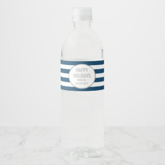 Navy Blue Stripes Silver Custom Happy Holidays Water Bottle Label