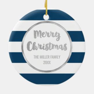 Navy Blue Stripes Silver Merry Christmas Photo Ceramic Ornament