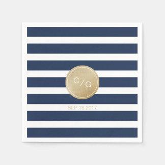 Navy blue stripes simple modern wedding monogram paper napkin