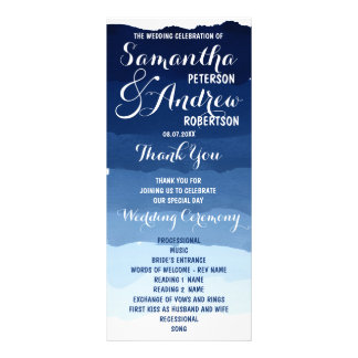 Navy blue stripes watercolor ombre wedding program