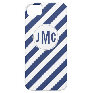 Navy Blue Stripes with Custom Monogram iPhone 5 Cover