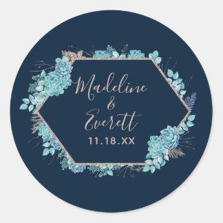 Navy Blue Succulents & Rose Gold Monogram Wedding Classic Round Sticker