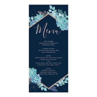 Navy Blue Succulents & Rose Gold Wedding Menu