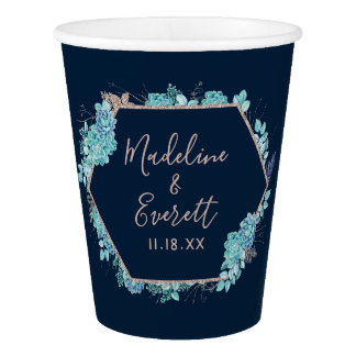 Navy Blue Succulents & Rose Gold Wedding Monogram Paper Cup