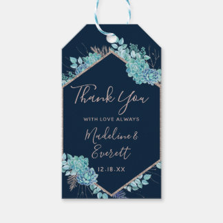 Navy Blue Succulents & Rose Gold Wedding Thank You Gift Tags