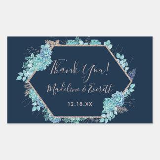 Navy Blue Succulents & Rose Gold Wedding Thank You Sticker