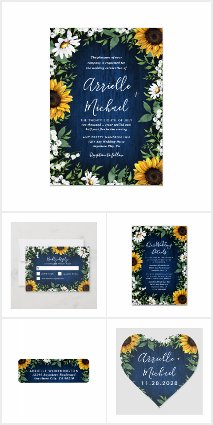 Navy Blue Sunflower Rustic Wedding Invitations Set