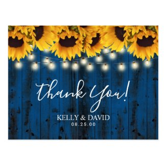 Navy Blue Sunflowers Rustic Wedding Thank You Postcard