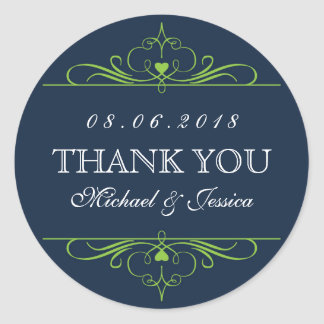Navy Blue Swirl Floral Ornament Wedding Sticker