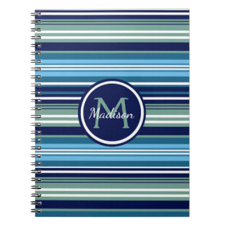 Navy Blue Teal And White Striped Pattern Name Notebook