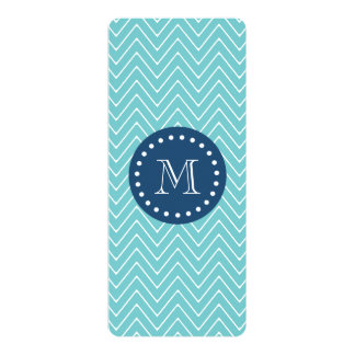 "Navy Blue, Teal Chevron Pattern | Your Monogram 4"" X 9.25"" Invitation Card"