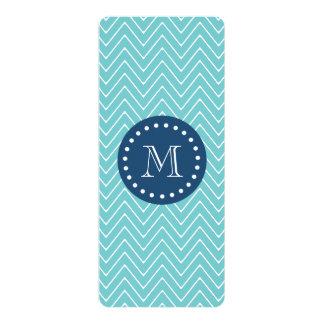 Navy Blue, Teal Chevron Pattern | Your Monogram 4x9.25 Paper Invitation Card