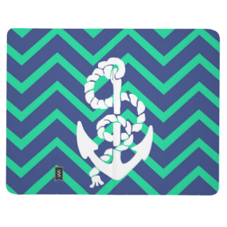 Navy Blue & Teal Chevrons White Anchor Nautical Journal