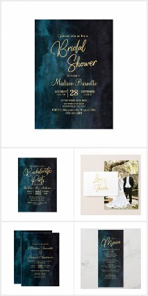 Navy Blue & Teal Modern Gold Calligraphy - Wedding