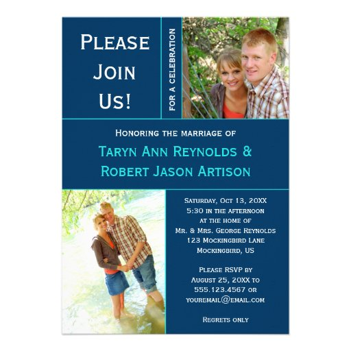 Navy Blue Teal Photo Block Post Wedding Invitation Personalized Invitations