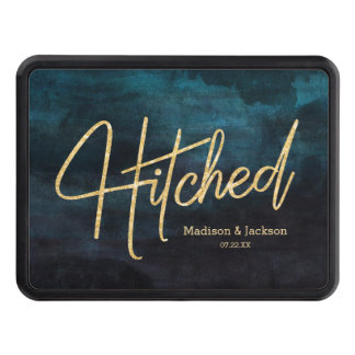 Navy Blue & Teal Watercolor & Gold Wedding Hitched Trailer Hitch Cover