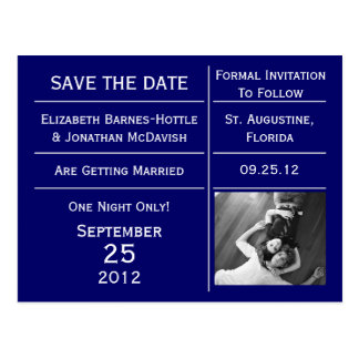 Navy Blue Ticket Photo Save The Date Postcard