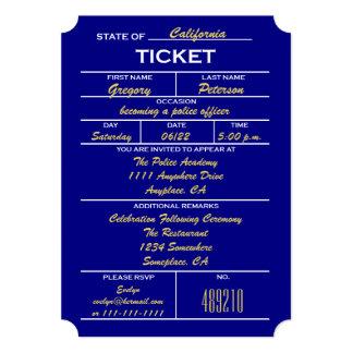 Navy Blue Ticket Police Graduation Invitations