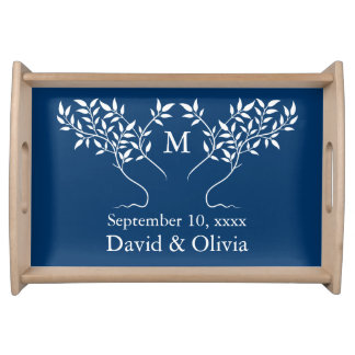 Navy Blue Tree of Life Wedding Serving Tray