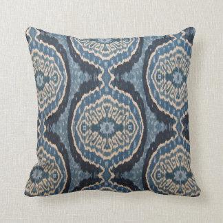 Navy Blue Tribal Ikat Throw Pillow