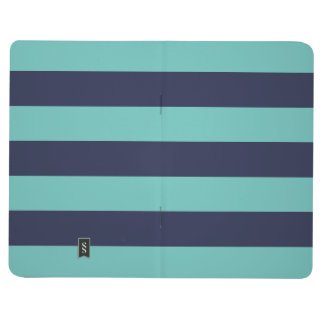Navy Blue Turquoise Rugby Stripes Journal