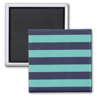 Navy Blue Turquoise Stripes Square Magnet