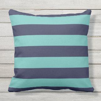 Navy Blue Turquoise Stripes Throw Pillow