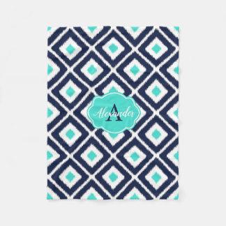 Navy Blue, Turquoise, White Ikat Diamond Fleece Blanket