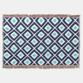 Navy Blue, Turquoise, White Ikat Diamond Throw Blanket