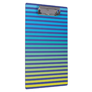 Navy Blue, Turquoise, Yellow (gradient) Stripes Clipboard