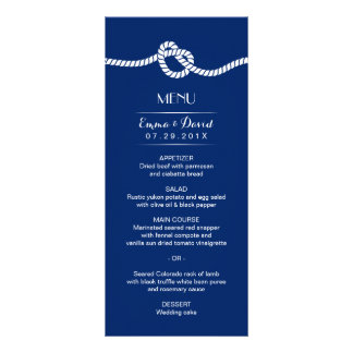 Navy Blue Tying the Knot Nautical Wedding Menu