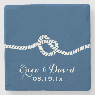 Navy Blue Tying the Knot Nautical Wedding Stone Coaster
