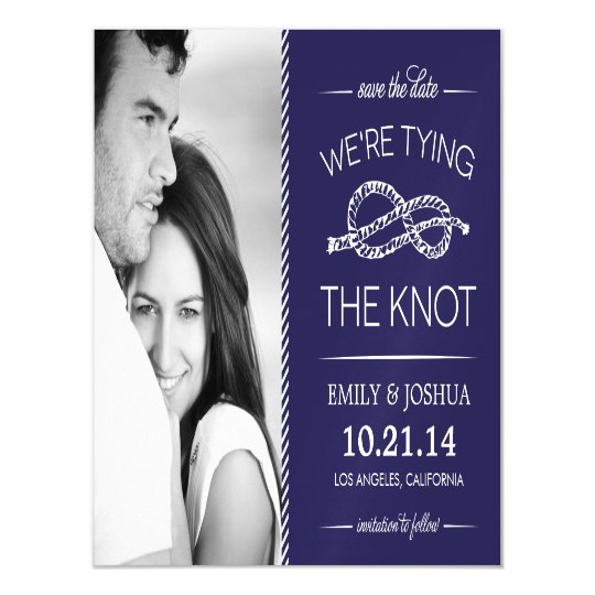 Navy Blue Tying the Knot Photo Save the Date Magnetic Invitations
