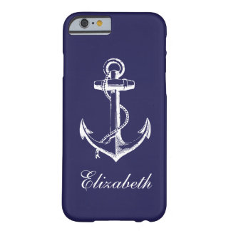 Navy Blue Vintage Anchor Custom Monogram Barely There iPhone 6 Case