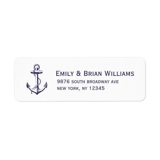 Navy Blue Vintage Anchor Illustration Return Address Label