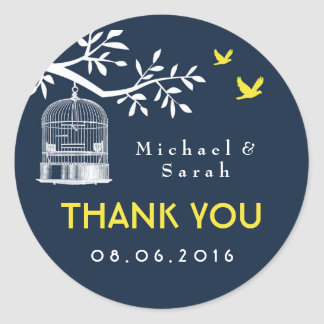 Navy Blue Vintage Bird Cage Wedding Sticker