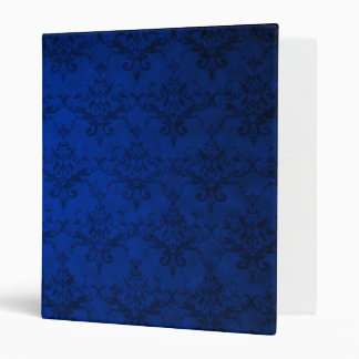 Navy blue vintage damask pattern vinyl binders