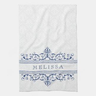 Navy Blue Vintage Floral Swirls Frame Kitchen Towels