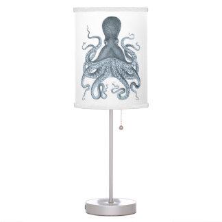 Navy Blue Vintage Octopus Illustration Table Lamp