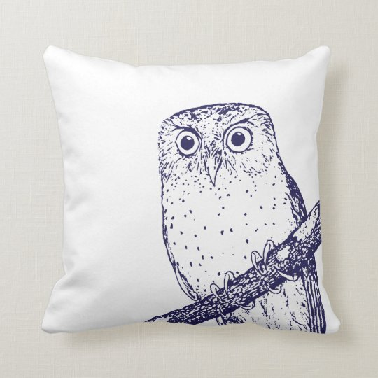 Navy Blue Vintage Owl & Polka Dots Throw Pillow